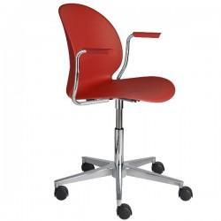 Fritz Hansen N02 Recycle Swivel Arm Chair dark red