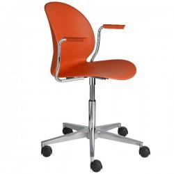 Fritz Hansen N02 Recycle Swivel Arm Chair dark orange