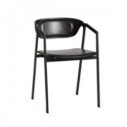 Woud S.A.C. Dining Chair Black Leather Seat