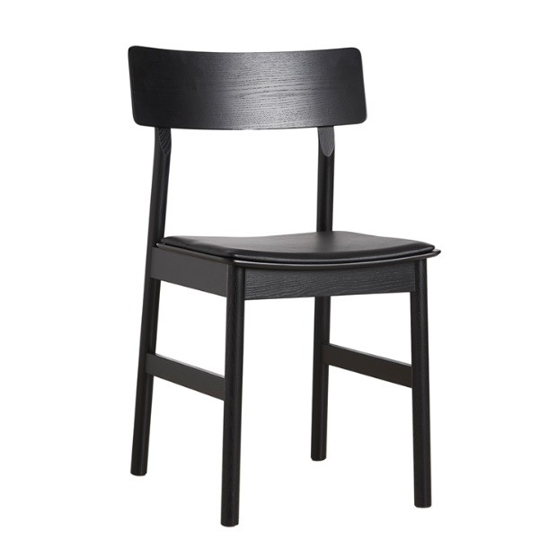 Woud Pause Dining Chair w/ black leather seat