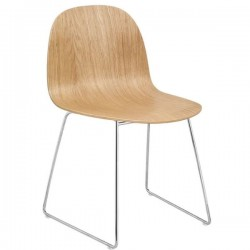 GUBI 2D Dining Chair - Un-Upholstered Sledge Base