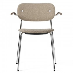 Menu Co Chair, fully upholstered with armrest, Chrome