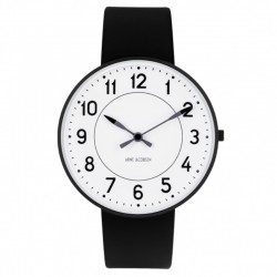 Arne Jacobsen Station Watch white Dial. Black, Black Strap
