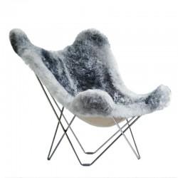 Cuero Design Sheepskin Butterfly Chair – Iceland Mariposa – Natural Grey