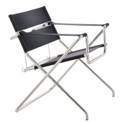 Tecta D4 Bauhaus Folding Chair Saddle Leather Black (laced in the Back)