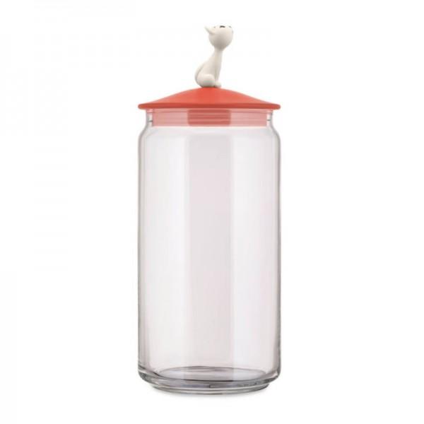 Alessi Mio Jar for Cat Food Red Orange