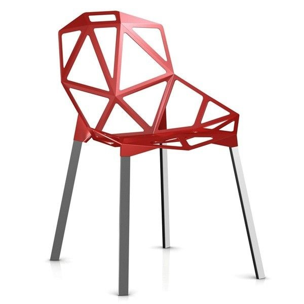 Magis Chair One ( Seat Painted, Anodized Legs) Red Sale