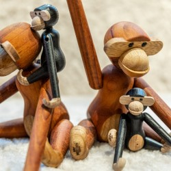 Kay Bojesen Small Teak Monkey & Mini Dark Stained Oak Monkey Offer