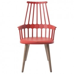 Kartell Comback Chair Wooden Legs Orangey red / Oak legs