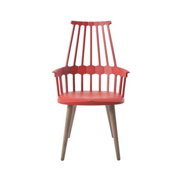 Kartell Comback Chair Wooden Legs Orangey red / Oak legs