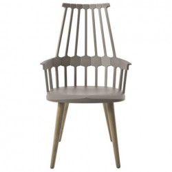 Kartell Comback Chair Wooden Legs Hazelnut brown / Oak legs