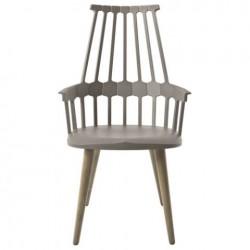 Kartell Comback Chair Wooden Legs Hazelnut brown / Oak legs