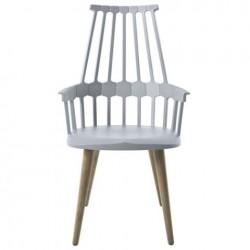 Kartell Comback Chair Wooden Legs Grey blue / Oak legs