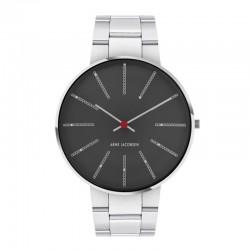 Arne Jacobsen Bankers 40 Porsnunn Grey polished and brushed steel bracelet.