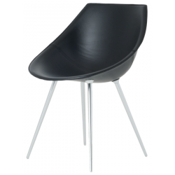 Driade Lago Leather Chair Black