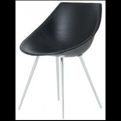 Driade Lago Leather Chair Black